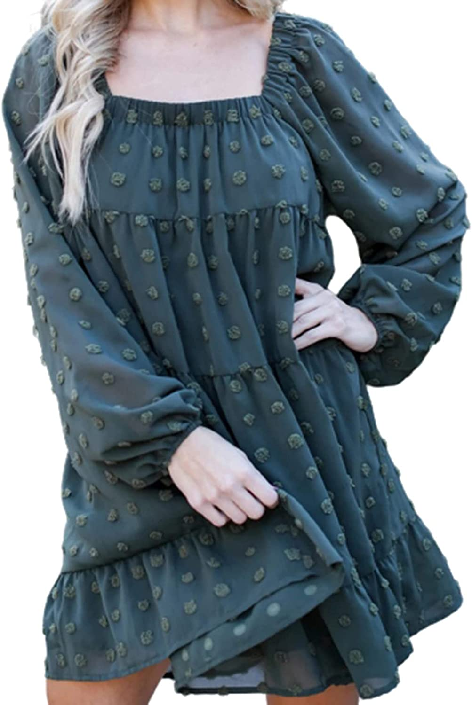 Womens Dresses Casual Chiffon Dress O Neck Beach Sundress Long Sleeve Party Gowns Swiss Dot Ruffle Midi Skirt