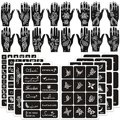 Pochoirs de tatouage au henné 120 pièces, 16 feuilles de modèles de tatouage au henné noir pour Noël, kit de tatouage au henné réutilisable, pochoirs de tatouage bricolage