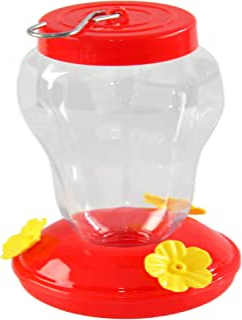 """Home-X Classic Hummingbird Feeder, Hummingbird Nectar Dispenser, Hanging Outdoor Bird Perch, 7"""" L x 3 ¾"""" D, Red/Clear"""