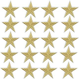 Star Iron On Patches Sew On Embroidered Badge Applique Patch with Star Motif Applique Stickers DIY for Shoes,Hats,Clothes(20 Pcs Gold Star)