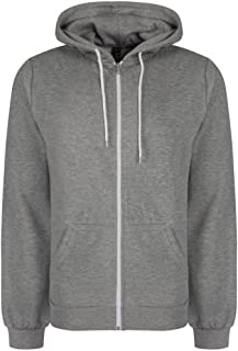 "Soul Star Mens Adults Berkeley Full Zip Through Hooded Sweatshirt Tops Grey L - 39-40"""
