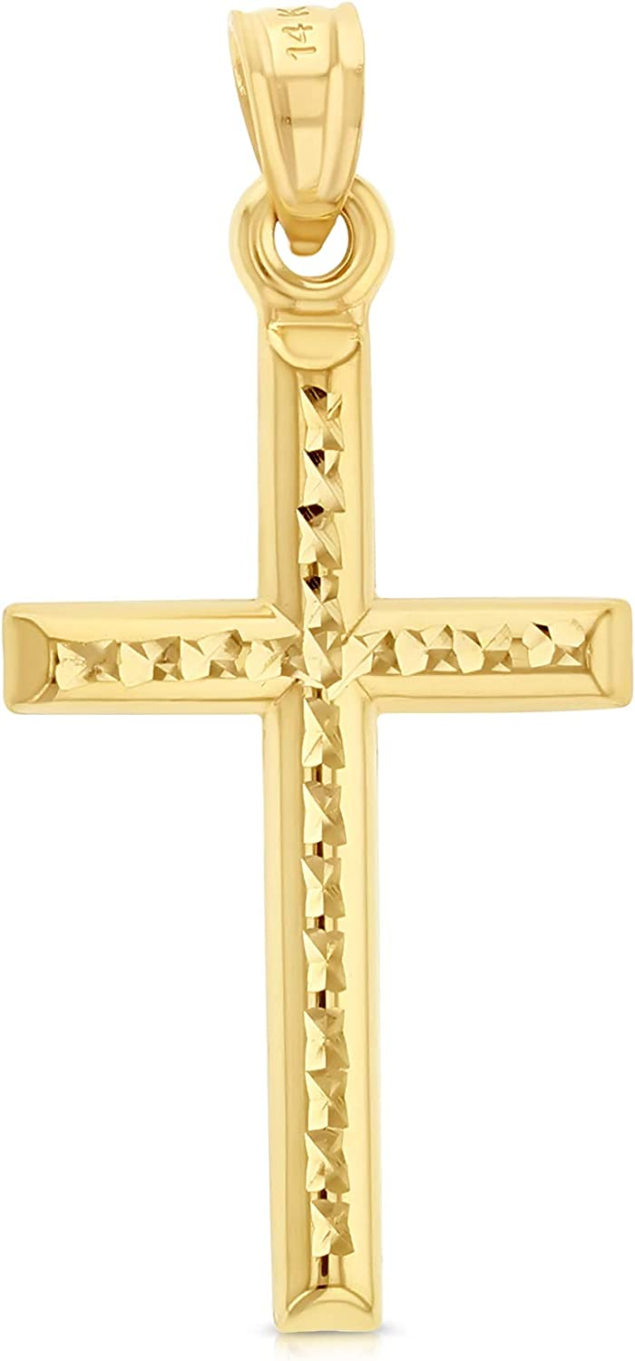 Ioka - 14K Yellow Gold Religious Cross Charm Small Pendant For Necklace or Chain