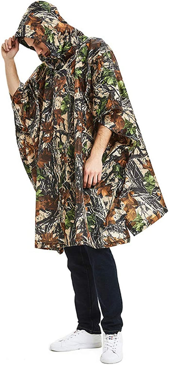 Jungle Camouflage Raincoat, Waterproof and Lightweight Foldable Poncho for MultiPurpose Use, Can Also Be Used As A Day Account Or MoistureProof Floor Mat.