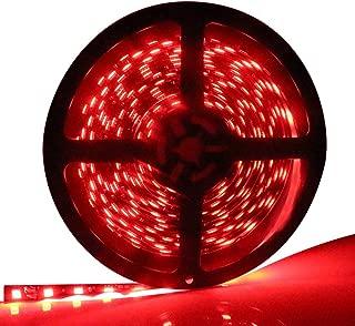 EverBright Red Led Strip Lights, 5M(16.4Ft)5050SMD 300 LED Waterproof Flexible Led Light Strip PCB Black for Car Truck Neon Undercar Lighting Kits House Decoration Stage Led Ribbon Light