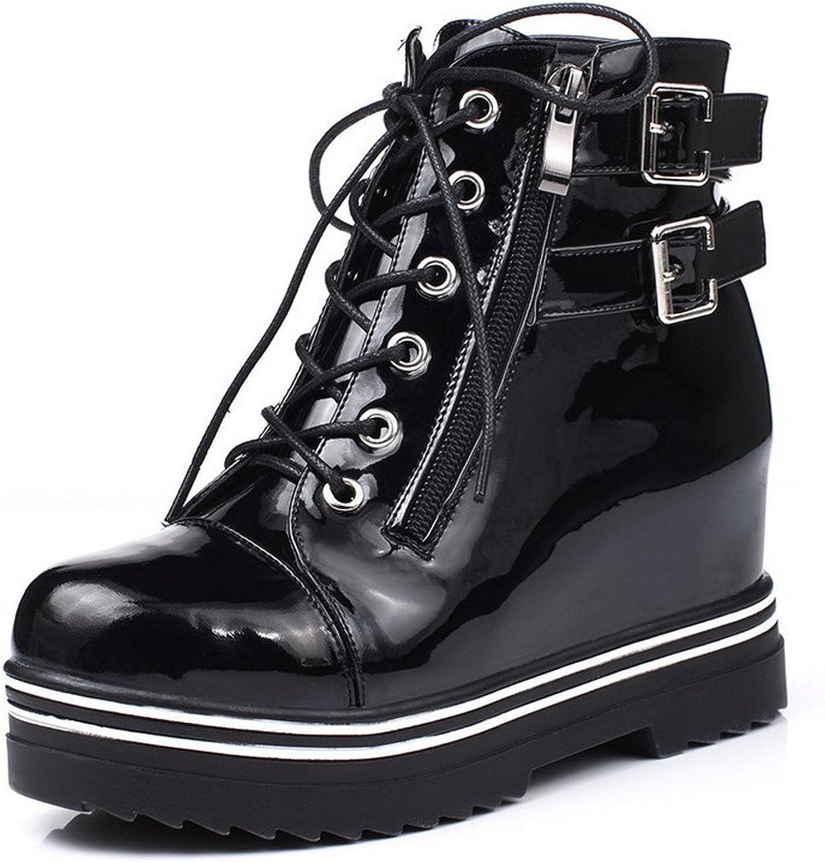 AllhqFashion Women's Kitten Heels Ankle High Solid Zipper Boots