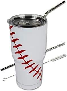Best Urbanifi Baseball Tumbler 30 oz Cup with Straw, Lid, and Cleaner Gift for Mom Men Sports Travel Coffee Mug, Stainless Steel, Insulated, Keep Drinks Cold and Hot Review