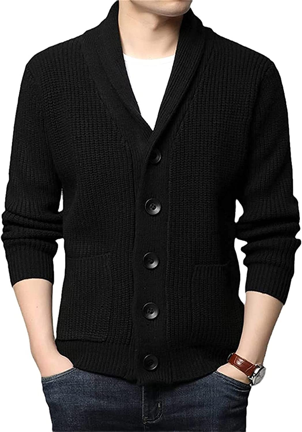 Wool Thick Autum Winter Cable Knit Sweater Jacket Men Coats Korean Clothing