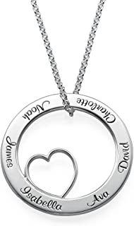 Personalized Circle of Love Family Necklace with Heart Inside - Engrave Any Name - Gift