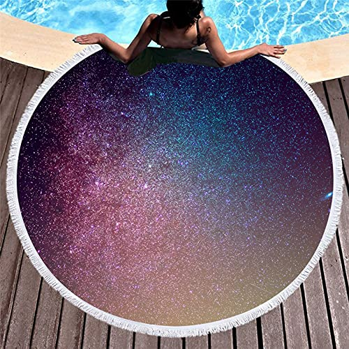 WYZDQ Toalla De Playa Redonda Grande Ronda 3D Espacio Galaxy Borlas Microfibra Picnic Lanza La Alfombra De Yoga Mantel De Mesa 59 Pulgadas,B