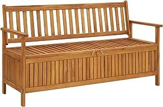 vidaXL Solid Acacia Wood Garden Storage Bench Wooden Outdoor Patio Balcony Seating Seat Sitting Furniture Entryway Hallway...