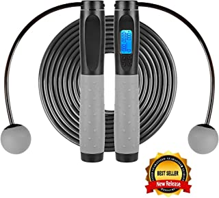 APORAKE Jump Ropes, Speed Skipping Rope with Calorie Counter, Cordless Skipping Rope, Adjustable Digital Counting Jump Rop...