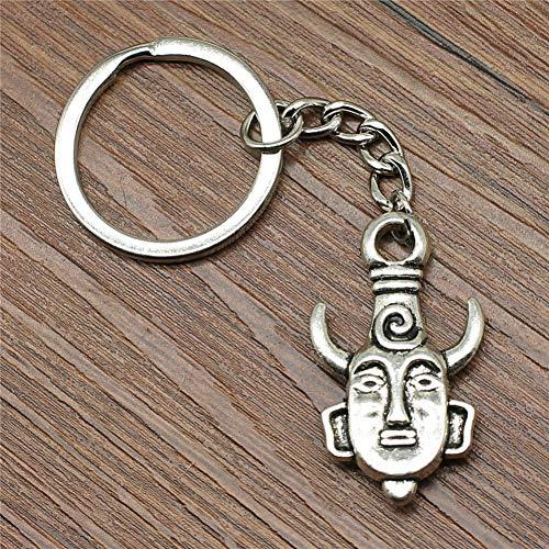 WANGWL Schlüsselring Ochsenkopf Schlüsselbund 36x21mm Antik SilberMode Handgemachtes Metall Schlüsselbund Souvenir Geschenke Für Frauen