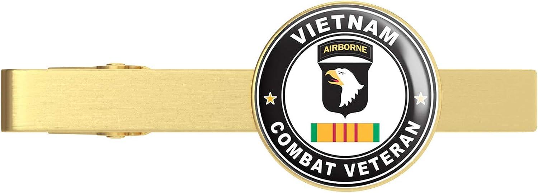 HOF Trading Gold US Army 101st Airborne Division Vietnam Combat Veteran Gold Tie Clip Tie Bar Veteran Gift