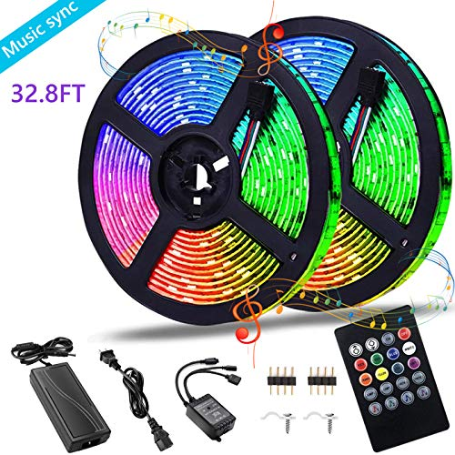 LED Strip Lights Smart Color Changing Rope Lights 32.8ft/10M SMD 5050 RGB Light Strips with Music Controller Sync to Music Apply for TV, Bedroom and Home Decoration
