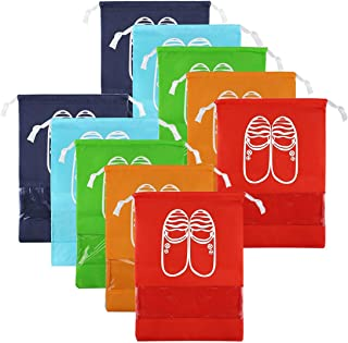 CHRISLZ 10pcs Travel Shoes Bag Finishing Bag Dustproof Shoes Storage Bag Bundle Pocket Drawstring Organizer Bag (10-color-m)