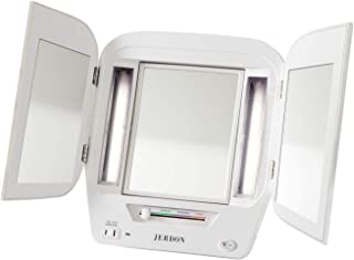 Jerdon JGL12W Trifold LED Lighted 5x-1x Mirror, 3.6 Pound