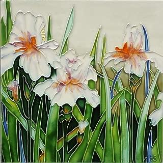 Kenneth Schilling Hand Painted Ceramic Tile Flowers for Jaime BKS-012
