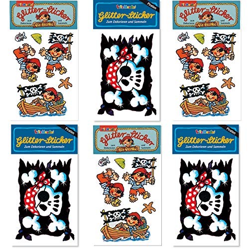 6-delige glitterstickerset * piraat * van Mauder Verlag | kinderstickers verjaardag cadeautje jongens glitter vlag doodskop sabel schatkist besturingswiel