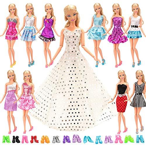 22 stuks = 12 jurken kleding feestmode prinsessen fashionista's met 10 paar schoenen voor Barbie-poppen