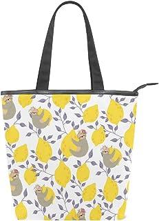 Mnsruu Große Handtasche aus Segeltuch Strandtasche, Reisetasche, Einkaufstasche, süße Faultiere auf den gelben Zitronen, Sommerurlaub, Handtasche für Damen und Mädchen