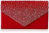 SwankySwans Abby Damen Clutch im Umschlag-Stil mit Strasssteinbesatz, Rot - Rot - Größe: Einheitsgröße