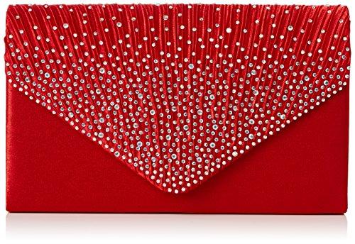 SwankySwans Damen Abby Diamante Envelope Style Bag Tasche, Rot (Red), Einheitsgröße