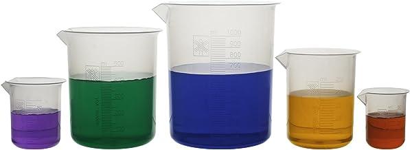 5 Piece Premium Laboratory Plastic Beaker Set, Made of High Clarity Polypropylene with Raised Graduations, 50 mL, 100 mL, 250 mL, 500 mL, and 1000 mL (Autoclavable)