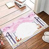 OPLJ Rama Flor Bud Bud Rosa Cerezo asiático Alfombra de baño Antideslizante Alfombra de Puerta Lavable Alfombra de baño Alfombra de Puerta A1 50x80cm