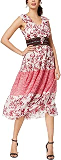 Taylor Dresses Women's Mixed Print Chiffon Midi Dress