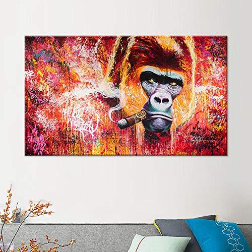 NLZNKZJ roken oranje-urethaan canvas schilderij creatieve sigaar dierenprint poster, muurkunst schilderijen voor woonkamer huis decoratie wandschilderij 70 x 100 cm zonder lijst