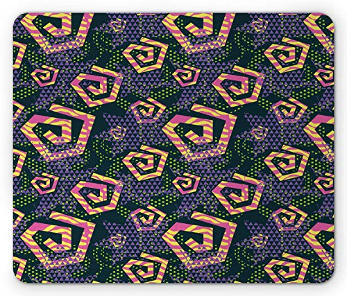 Retro Mouse Pad, Creative Geometric Edgy Spirals Triangles Memphis Art Pop Style Design, muismat Donker Blauwgroen
