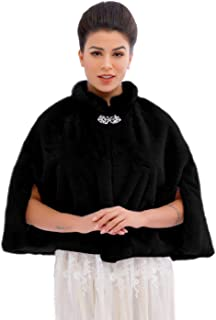 Bride Wedding Faux Fur Cape Bridal Fur Stole Wraps and Shawls Winter Capelet for Women and Girls