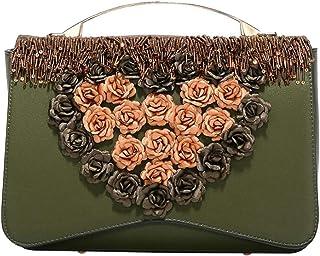 Khouses Ladies fashion portable retro beaded shoulder bag with love flower shoulder bag (Color : Green, Size : 26 * 9 * 18cm)