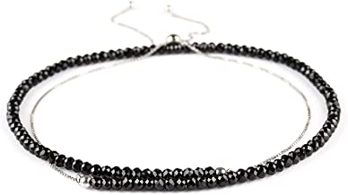 JaguarBeads Natural Black Spinel Beaded Crystals Handmade Ball Slider Lock Necklace 925 Sterling Silver Chain 18
