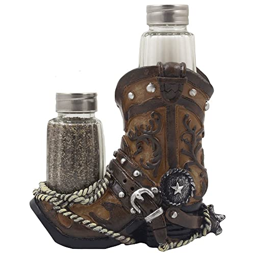 Fancy Cowboy Boot Salt and Pepper Shaker Set or Decorative Display Stand  Figurine with Spur   9fd8b8569089