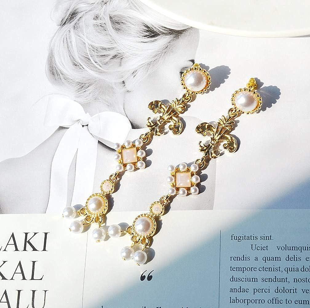Byzantine Palace Style Pendant Earrings White Rose Cross Pendant Earrings Vintage Gorgeous Bridal/Dinner Earrings For Women Girls Can Be Worn Without Pierced Ears