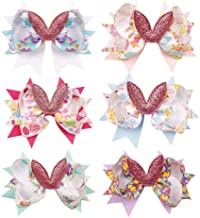 CN Bunny Rabbit Hair Bow Elastic Patch Holiday Boutique Easter Eggs Sunday Decoration Swallowtail Hair Clips Set Of 6