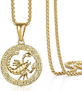 Hermah Gold Plated Zodiac Sign Pendant Necklace for Women Men Leo AriesConstellation Horoscope Pendant Stainless Steel Box...