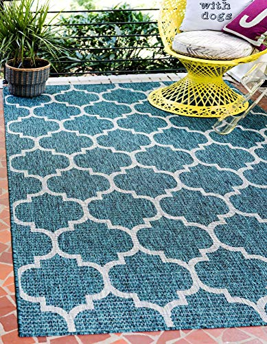 Unique Loom Trellis Collection Casual Moroccan Lattice Transitional Indoor and Outdoor Flatweave Area Rug, 8' x 11' 4', Teal/Gray
