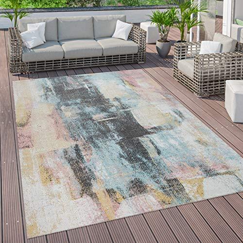 Outdoor Teppich Terrasse Vintage Küchenteppich Muster Abstrakt Pastell Gelb Blau, Grösse:160x220 cm