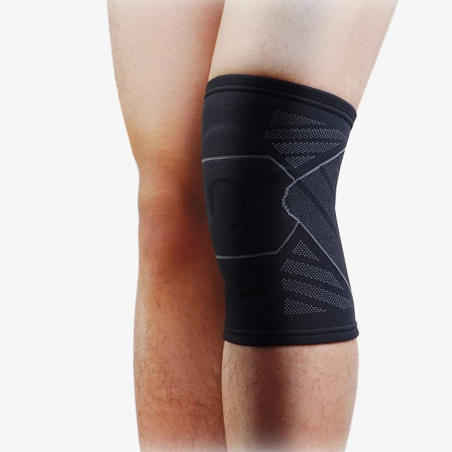 Running Sports Knee Pads Men and Women Breathable Basketball Squat Fitness Training Warm Meniscus Predective Gear 3D Knitting Technology, Gradient Pressure Design, Silicone Gasket (Size   L)