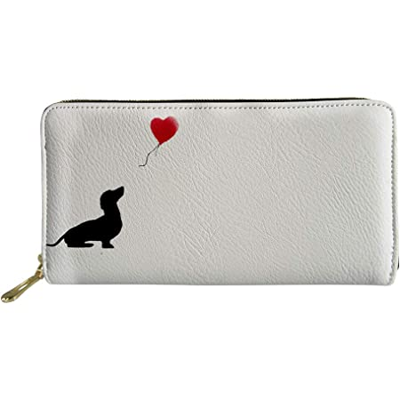HUGS IDEA Simple Long Leather Wallet, Dachshund Love Heart Zipper Purse for Womens Girl Lady
