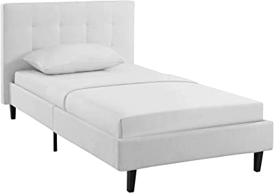Modway Linnea Upholstered White Twin Platform Bed with Wood Slat Support