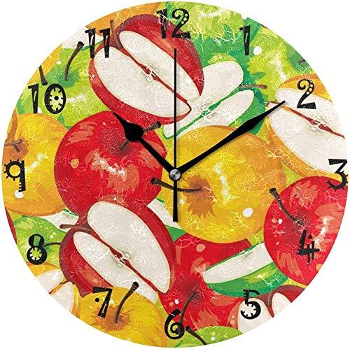 XXNZZJ Co.,ltd Relojes silenciosos de la Placa Circular de Art Apple para la decoración de la Escuela de la Oficina del hogar de la Cocina