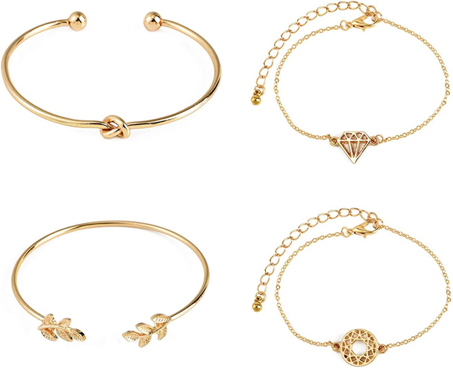 4Pcs/Set Bracelet Open Cuff Adjustable Jewelry Exquisite Hand Chain Gift for Party for Women Men Girls Boys