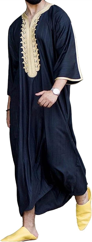 Musulmán para Hombre Ropa Túnica Árabe Camisas Casuales Pijama Kaftan Abaya Islámico Manga Larga Vestido Camisa de Dormir