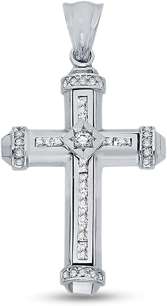 14K White Gold Religious Christian Cross Crucifix Pendant Charm with CZ Cubic Zirconia Accents (39x28 mm)