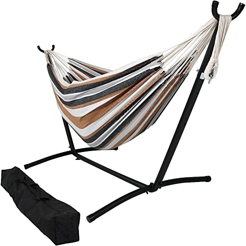 popular Sunnydaze Double Brazilian Hammock with outlet sale Stand & 2021 Carrying Case - Large Two Person Hammock with Brazilian Stand - 400 Pound Capacity - Calming Desert outlet sale