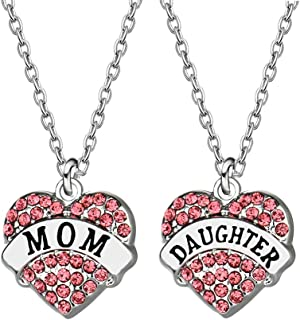 JQFEN Mom Daughter Gift Necklaces Pink Crystal Heart Charm Necklaces for Mother Daughter Gifts