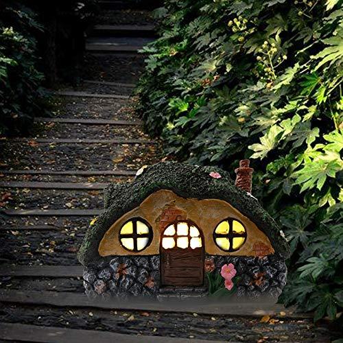 COLMO 20cm Feengarten Ornamente Dekoration Harz Statue Solarbetriebenes Feenhaus Garten Ornamente Rasen Weg und Geschenk (Grün)